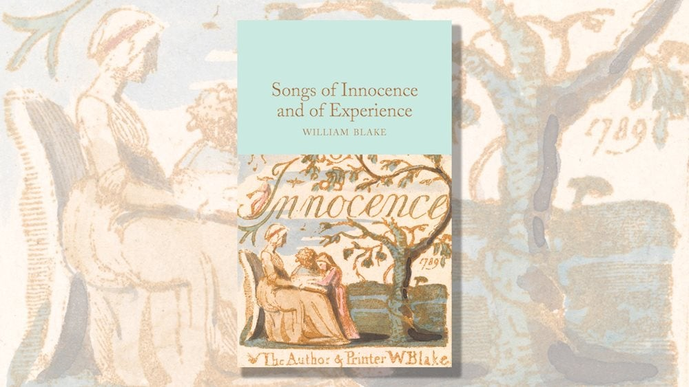Book cover of William Blake's Songs of Innocence and Experience with a faded illustration in the background